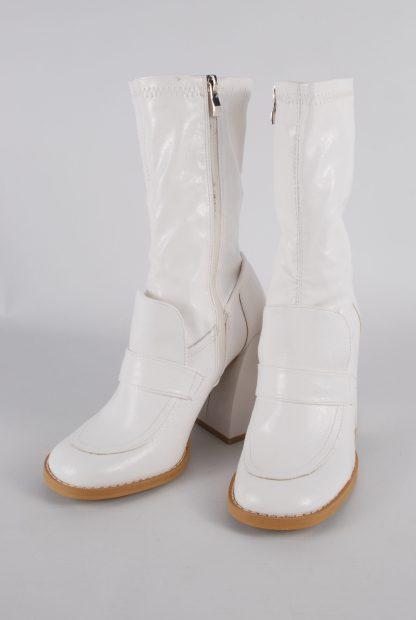 Koi White Block Heel Sock Boots - Size 5 - Front