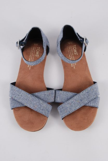 Toms Blue Crossover Sandals - Size 3 - Top
