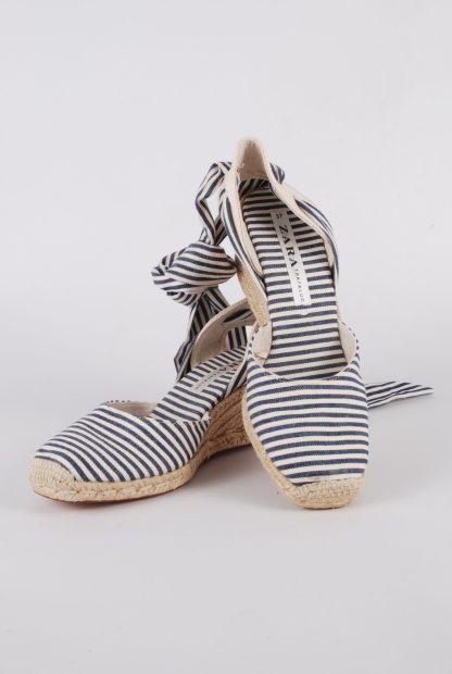 Zara Blue & Cream Striped Slingback Wedges - Size 5 - Front