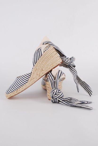 Zara Blue & Cream Striped Slingback Wedges - Size 5 - Side