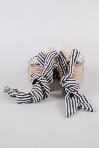 Zara Blue & Cream Striped Slingback Wedges - Size 5 - Back