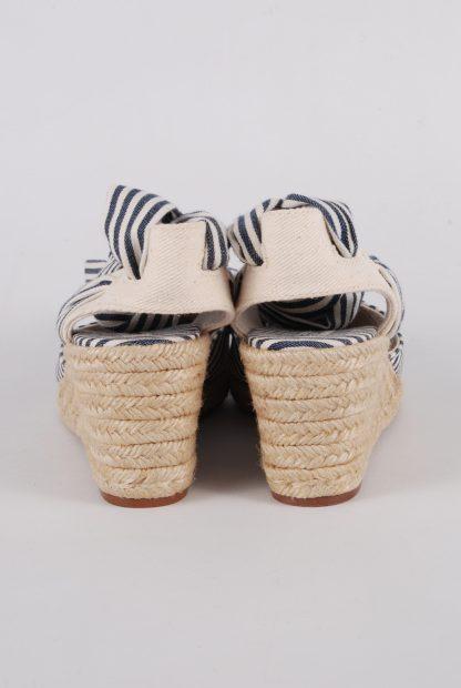 Zara Blue & Cream Striped Slingback Wedges - Size 5 - Back Detail