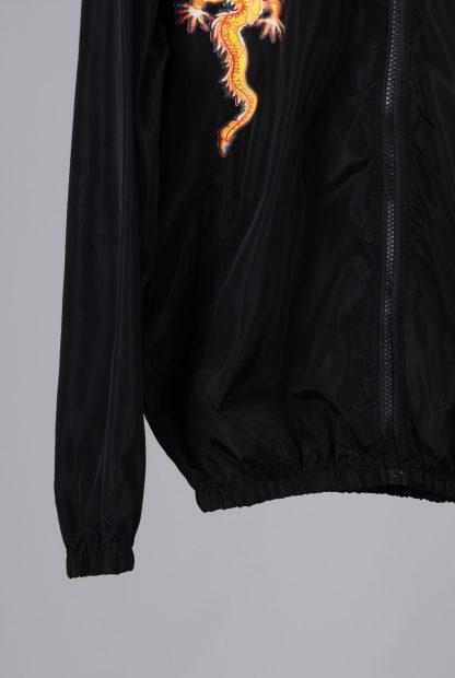 Black Dragon Decal Windbreaker Jacket - Size M/L - Front Hem