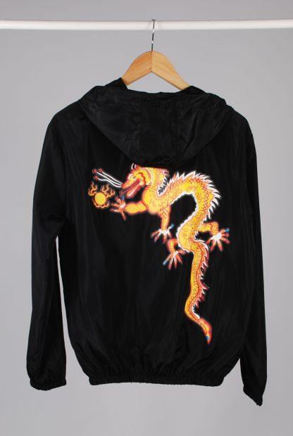 Black Dragon Decal Windbreaker Jacket - Size M/L - Back