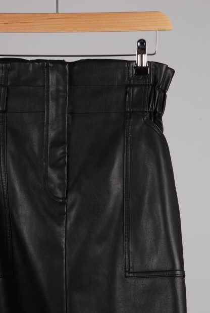 River Island PU Paperbag Mini Skirt - Size 14 - Front Detail