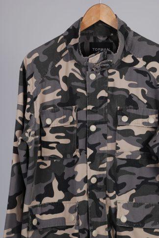 Topman Grey Camo Jacket - Size M - Front Detail