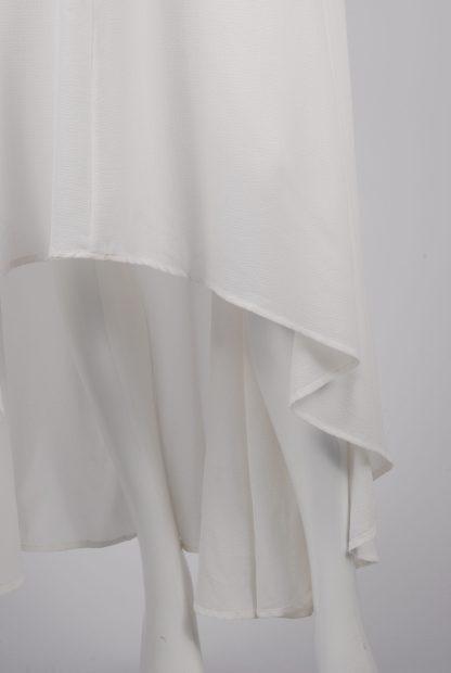 AX Paris White Plunge Maxi Dress - Size 8 - Front Hem