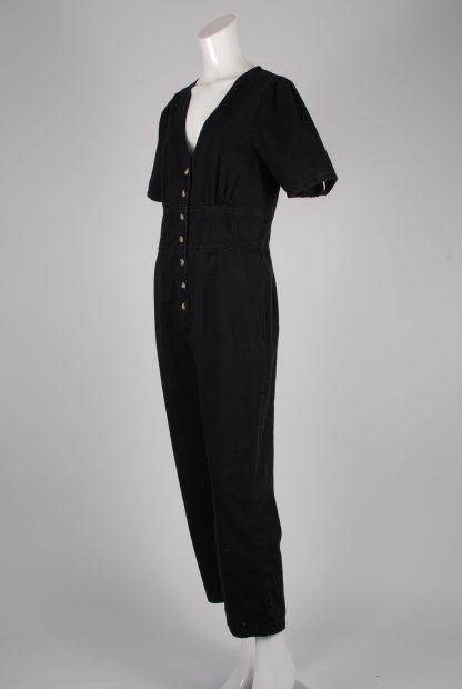 ASOS Black Distressed Denim Jumpsuit - Size 12 - Side
