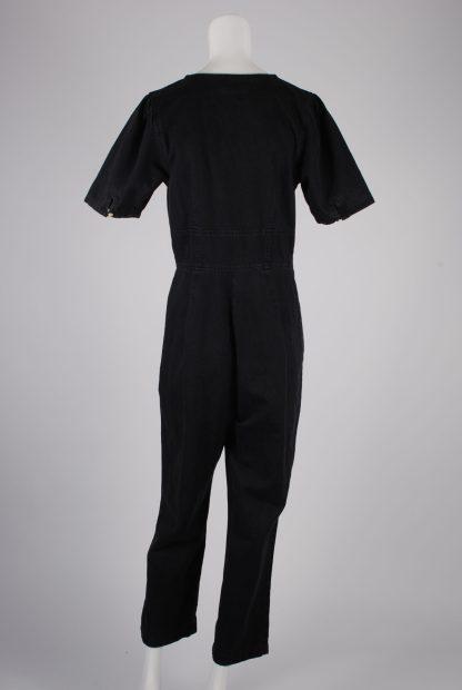 ASOS Black Distressed Denim Jumpsuit - Size 12 - Back