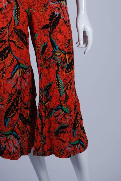 Ecote Leaf Pattern Cut Out Jumpsuit - Size XS - Front Leg