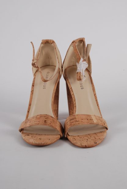 Glamorous Cork Style Strappy Heels - Size 5 - Front Detail