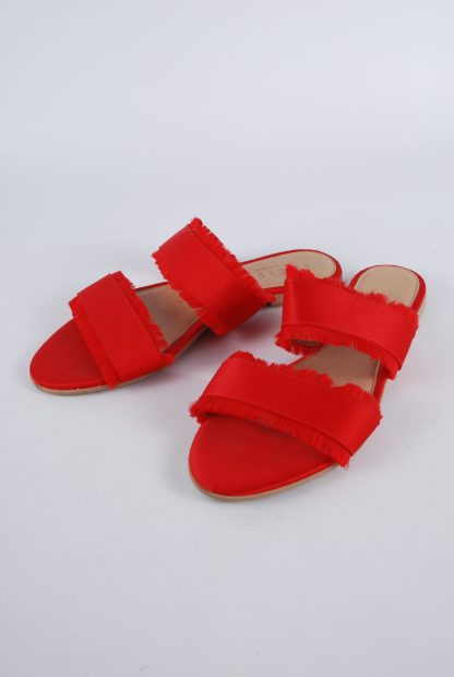 Pieces Red Fringed Slip On Sandals - Size 5 - Front