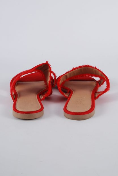Pieces Red Fringed Slip On Sandals - Size 5 - Back Detail