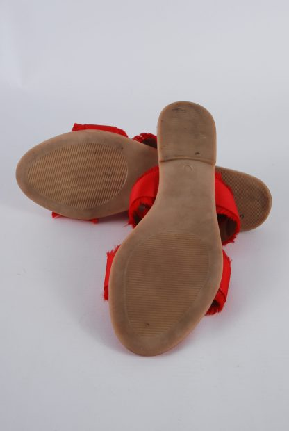 Pieces Red Fringed Slip On Sandals - Size 5 - Sole