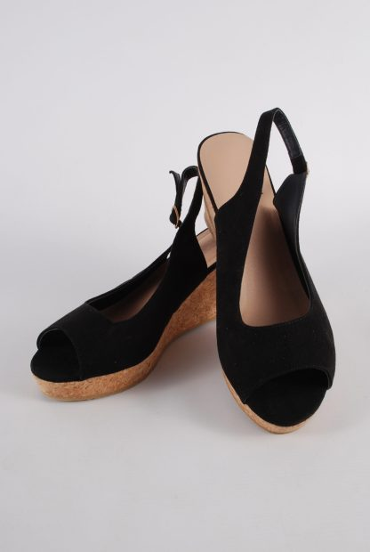 Simply Be Black Wedge Sandals - Size 7 - Front