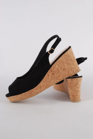 Simply Be Black Wedge Sandals - Size 7 - Side