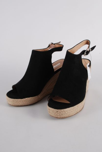 Simply Be Black Wedge Sandals - Size 4 - Front