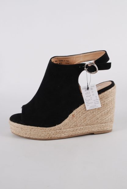 Simply Be Black Wedge Sandals - Size 4 - Side