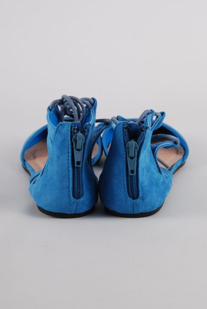 Rainbow Blue Gladiator Back Sandals - Size 4 - Back Detail