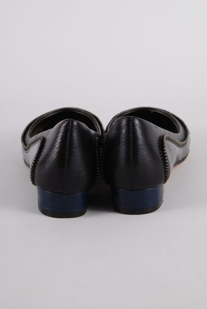 French Connection Navy & Black Zip Flats - Size 3 - Back Detail