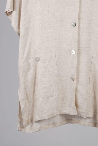 Oversized Beige Tunic Top - Size 10 - Front Hem