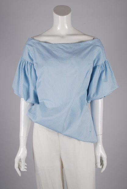 Capsule Vertical Stripe Puff Sleeve Top - Size 10 - Front
