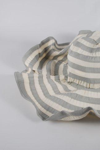 Filippo Catarzi Grey & Cream Striped Sun Hat - Front Detail