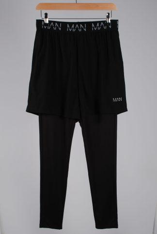 Boohoo MAN Black Leggings/Shorts - Size M - Front