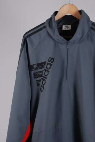 Adidas Grey Panelled Sports Jacket - Size 2XL - Front Detail