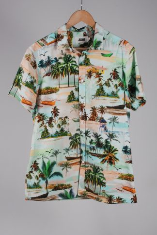 Jacamo Tropical Beach Print Shirt - Size M - Front