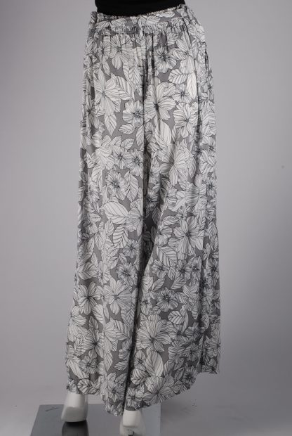 M&S Grey & White Floral Trousers - Size 16 - Back