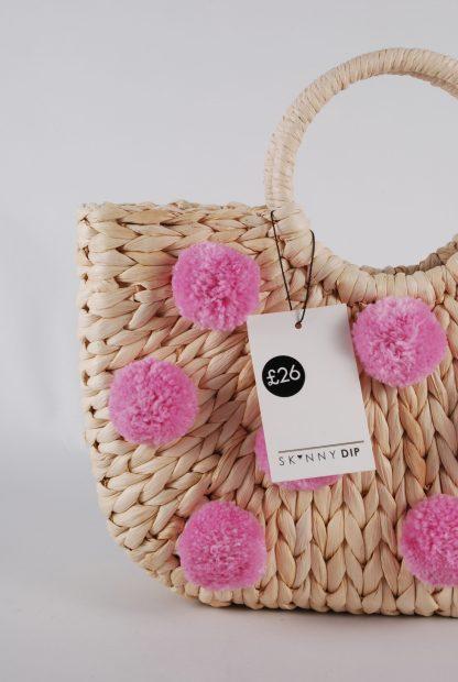 Skinny Dip Pom Pom Weave Bag - Front Detail