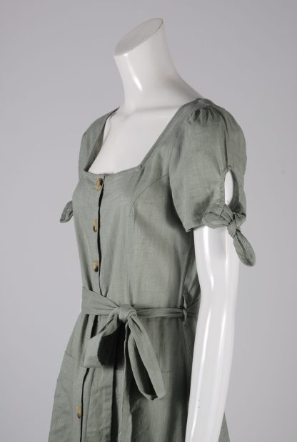 Primark Green Button Front Dress - Size 12 - Side Detail