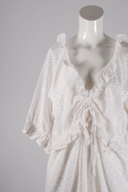 White Broderie Mini Dress - Size 16 - Front Detail