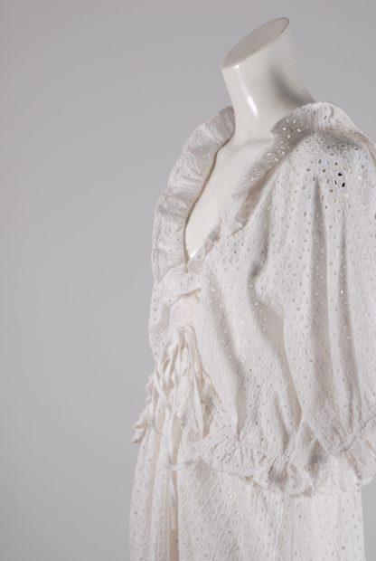 White Broderie Mini Dress - Size 16 - Side Detail