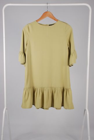 Boohoo Petite Green Frill Hem Dress - Size 8 - Front