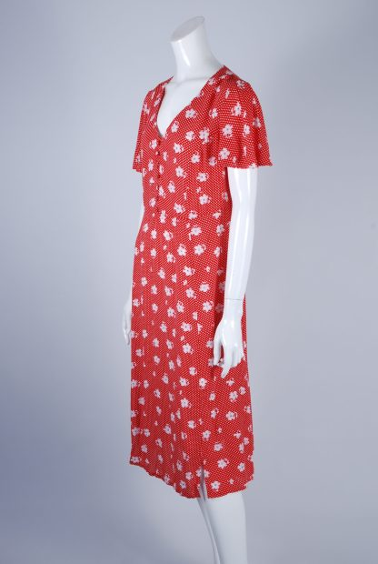 Red and White Floral Tea Dress - Size 10 - Side