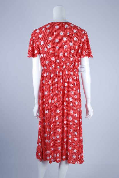 Red and White Floral Tea Dress - Size 10 - Back