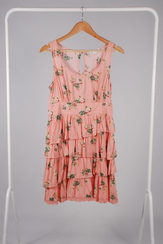 New Look Pink Floral Dress - Size 12 - Front