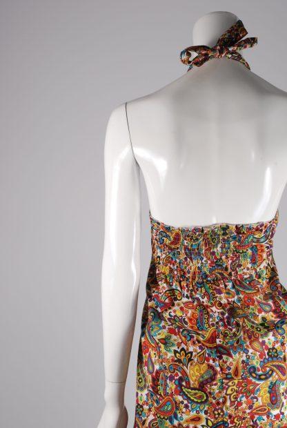 Flower & Paisley Halter Neck Maxi Dress - Size M - Back Detail