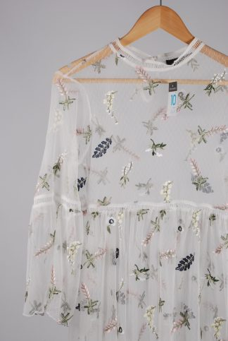 Primark White Mesh Floral Embroidered Dress - Size 10 - Front Detail