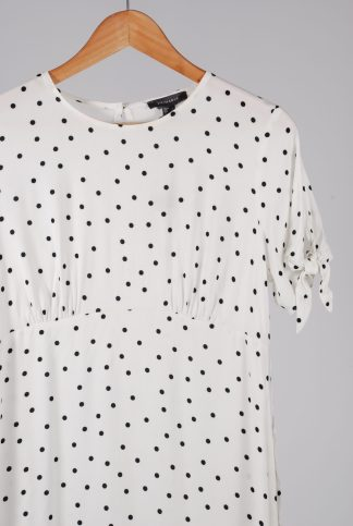 Primark White Polka Dot Tea Dress - Size 12 - Front Detail