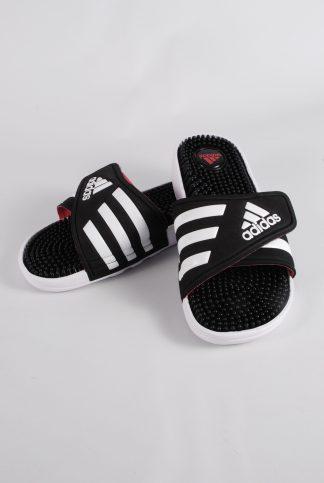 Adidas Black & White Sliders - Size 4 - Front