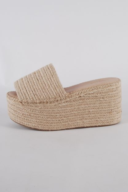 Truffle Collection Woven Platform Sandals - Size 6 - Side