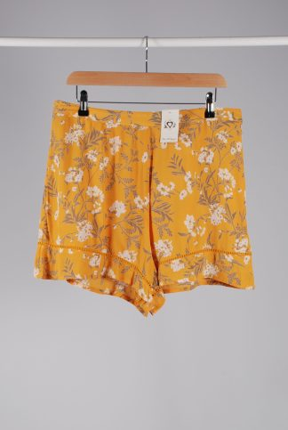 Miss Selfridge Yellow Floral Shorts - Size 14 - Front