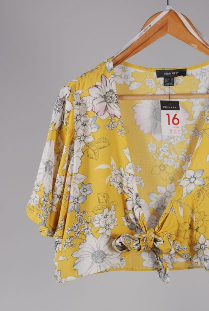 Primark Yellow Floral Crop Top - Size 16 - Front Detail