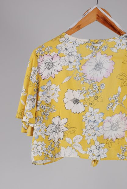 Primark Yellow Floral Crop Top - Size 16 - Back Detail