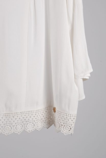 Superdry White Crop Top - Size 16 - Front Hem