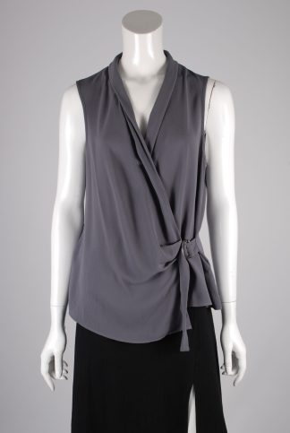 New Look Grey Sleeveless Wrap Top - Size 10 - Front