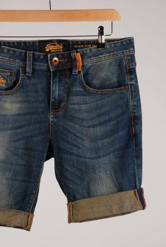 "Superdry Blue Denim Shorts - Size 30"" - Front Detail"